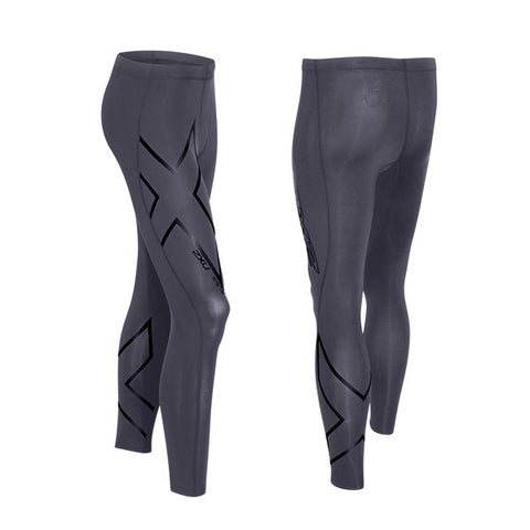 2XU Men's HYOPTIK Compression Tights - Steel Black Reflective