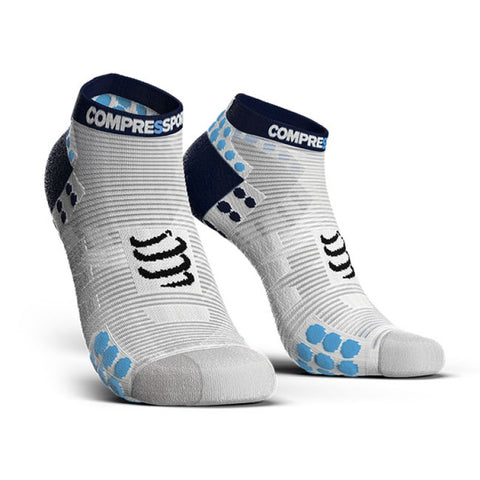 COMPRESSPORT PRO RACING SOCKS V3.0 RUN LOW - WHITE/BLUE