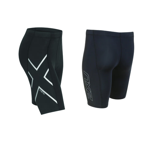 2XU MEN'S HYOPTIK COMPRESSION SHORT - BLACK SILVER REFLECTIVE