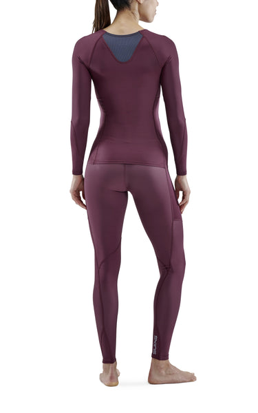 Skins Women's Compression Series-3 Long Sleeves Top - Burgundy