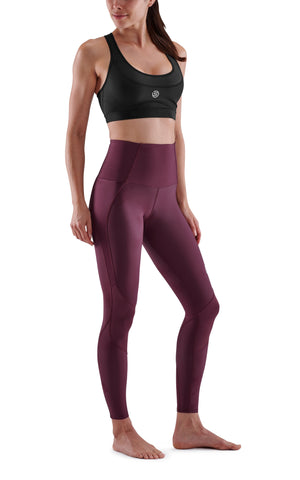 SKINS Women's Compression Skyscraper Tights 3-Series - Burgundy