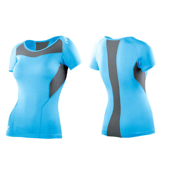 2XU Women's Base Compression Short Sleeve Top - Baby Blue Grey