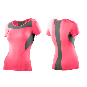 2XU Women's Base Compression Short Sleeve Top - Tangerine Grey