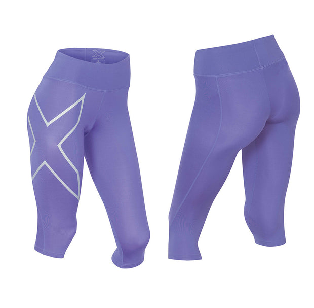 2XU Women's Mid-Rise 3/4 Compression Tights - IMP/SIL
