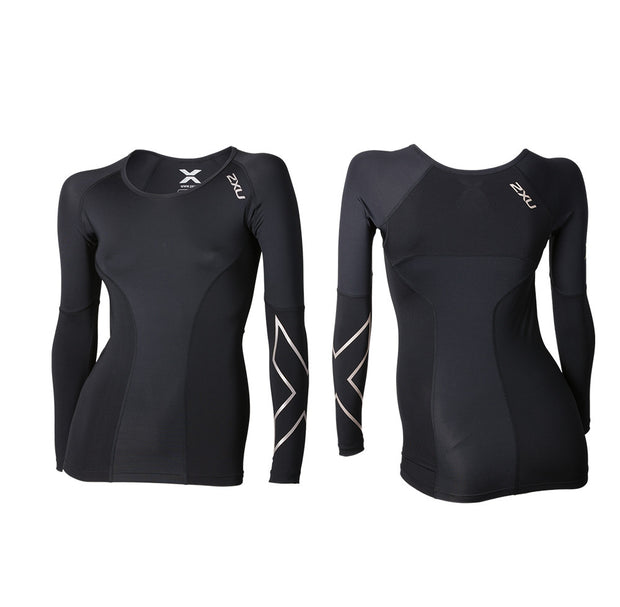 2XU Women's Elite LONG Sleeve Compression Top - BLACK/STL