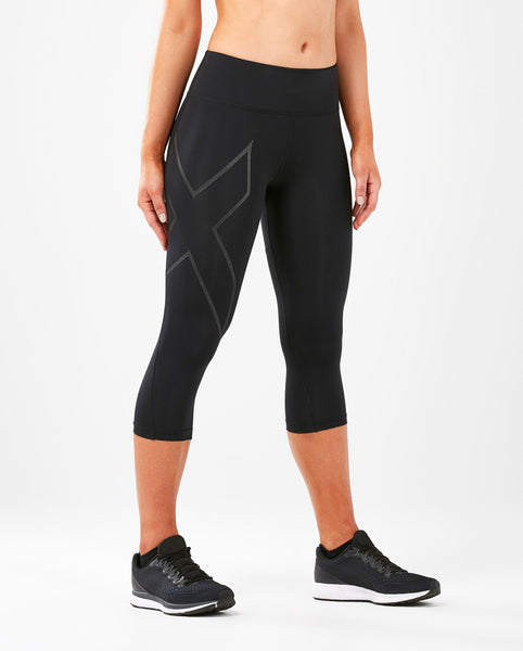 2XU WOMEN'S RUN MID-RISE 3/4 COMPRESSION TIGHTS