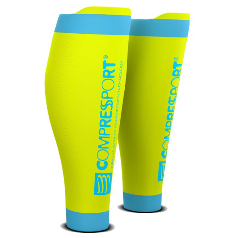 COMPRESSPORT R2V2 CALF SLEEVES - FLUO YELLOW