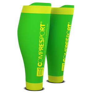COMPRESSPORT R2V2 CALF SLEEVES - FLUO GREEN