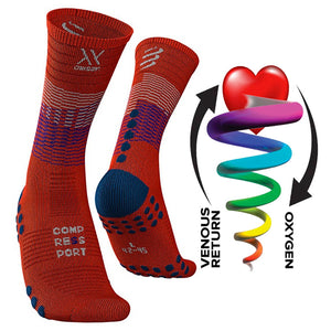 COMPRESSPORT MID COMPRESSION SOCKS - BLACK/BLOOD ORANGE