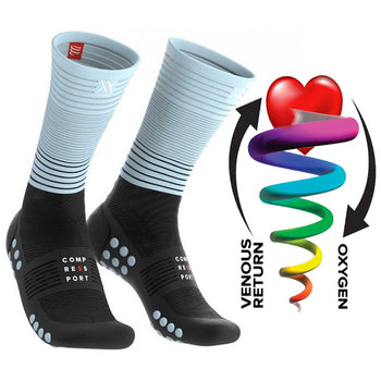 COMPRESSPORT MID COMPRESSION SOCKS - BLACK/ICE BLUE