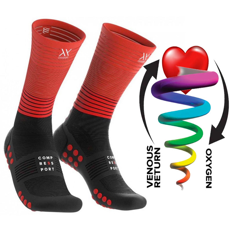 COMPRESSPORT MID COMPRESSION SOCKS - BLACK/RED