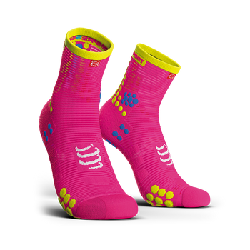 COMPRESSPORT PRO RACING SOCKS V3.0 RUN HI - FLUO PINK