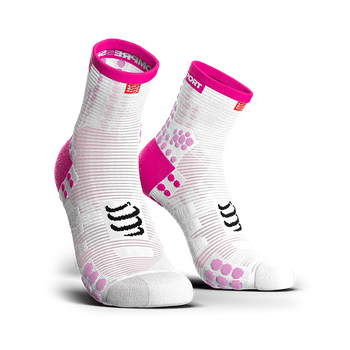 COMPRESSPORT PRO RACING SOCKS V3.0 RUN HI - WHITE/PINK