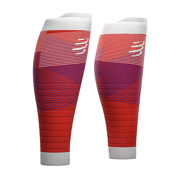 COMPRESSPORT R2 OXYGEN CALF SLEEVES - BLOOD ORANGE