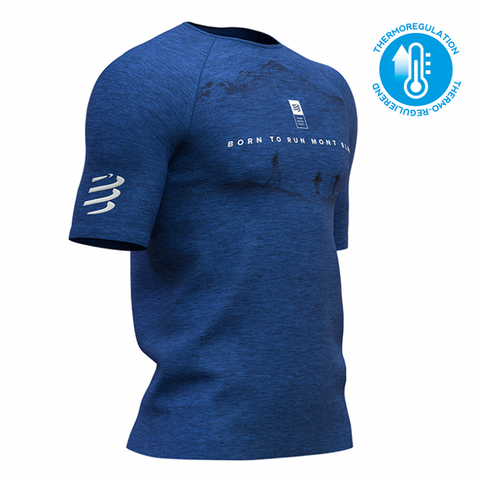 COMPRESSPORT TRAINING TSHIRT SS BLUE - MONT BLANC LIMITED EDITION