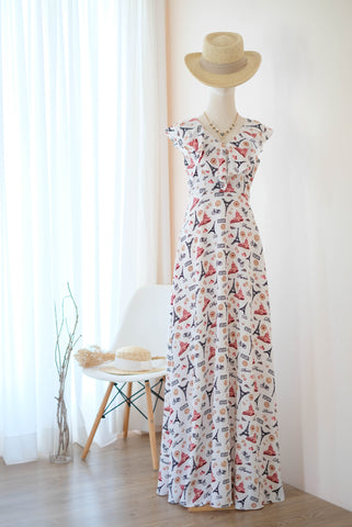 AVERY White Printed dress