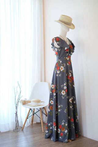 AVERY Gray floral dress
