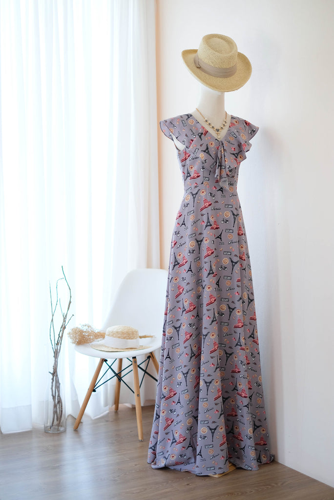 AVERY Gray Printed dress