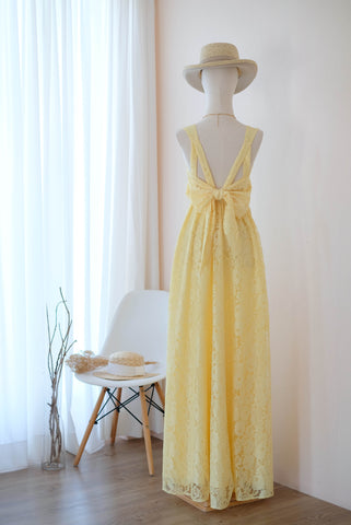 VALENTINA Yellow Lace Dress