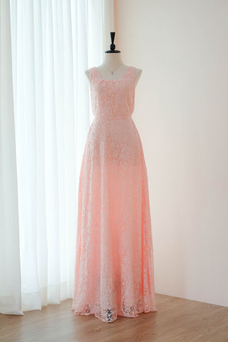 Pink lace dress floor length cocktail bridesmaid dresses - KEERATIKA LOLITA