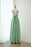 Sage green floor length backless bridesmaid dresses - KEERATIKA KATE