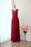 Burgundy lace long bridesmaid dresses Backless - KEERATIKA VALENTINA
