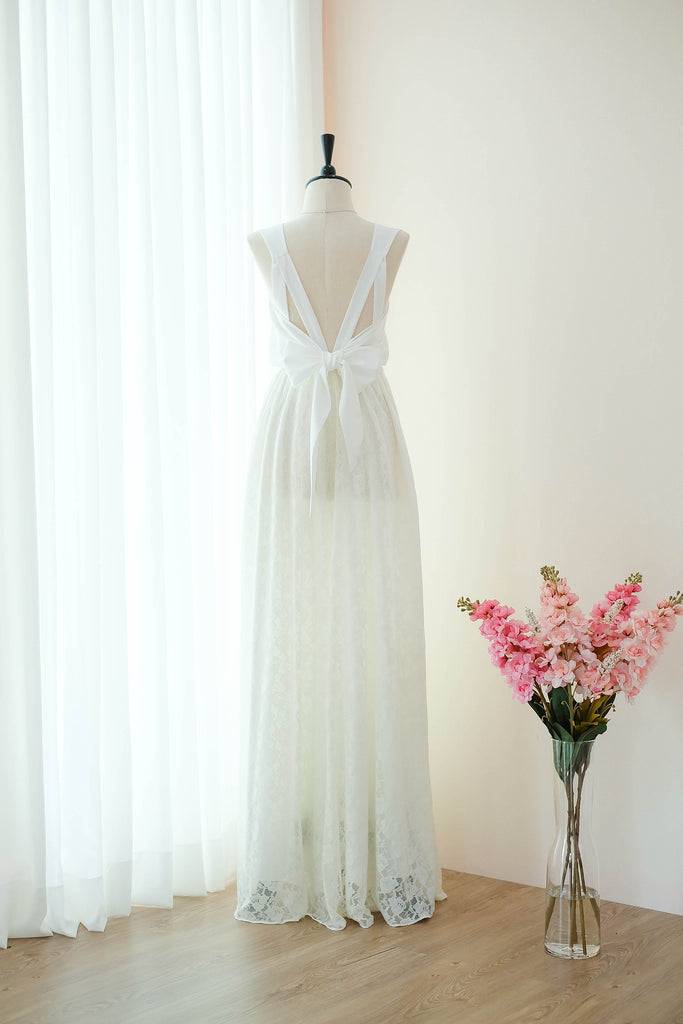 Off white lace bridal bridesmaid wedding dresses - KEERATIKA VALENTINA