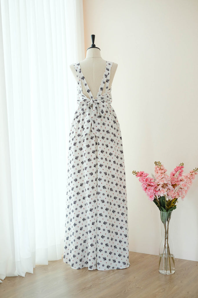 VALENTINA White Printed Dress