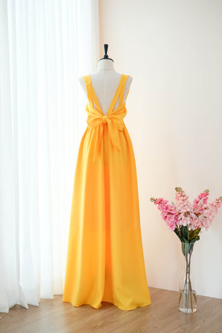 Gold yellow long bridesmaid party prom dresses - KEERATIKA VALENTINA