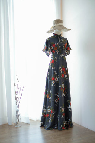 ELODIE Charcoal Gray Floral Dress