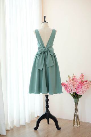 Dark Sage green bridesmaid dresses backless cocktail wedding party prom dress