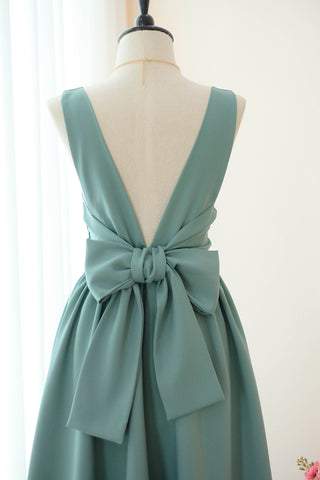 Dark Sage green floral bridesmaid dresses backless cocktail wedding party prom dress