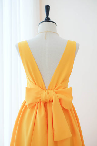 Yellow bridesmaid dress Backless bow back party dress Square neck