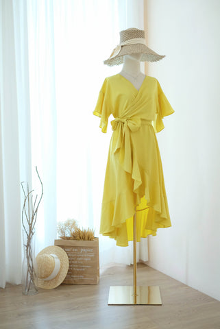 ROSE Pineapple Yellow wrap dress
