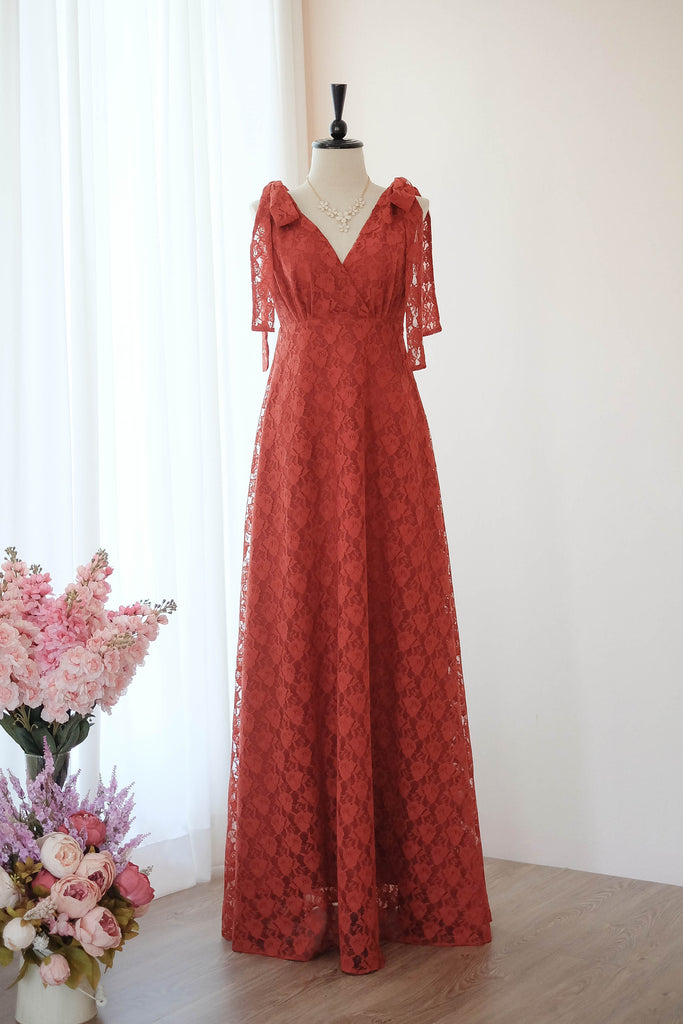 Rust Dress Lace dress Rust Long bridesmaid dress Lace Wedding Dress Prom Dress Cocktail dress