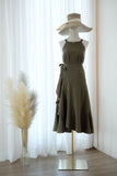 Olive Green bridesmaid set 2 Pieces Top and Wrap skirt