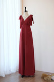 Dark Red Burgundy dress Burgundy Long bridesmaid dress Wedding dress Bridal dress Floor length dress