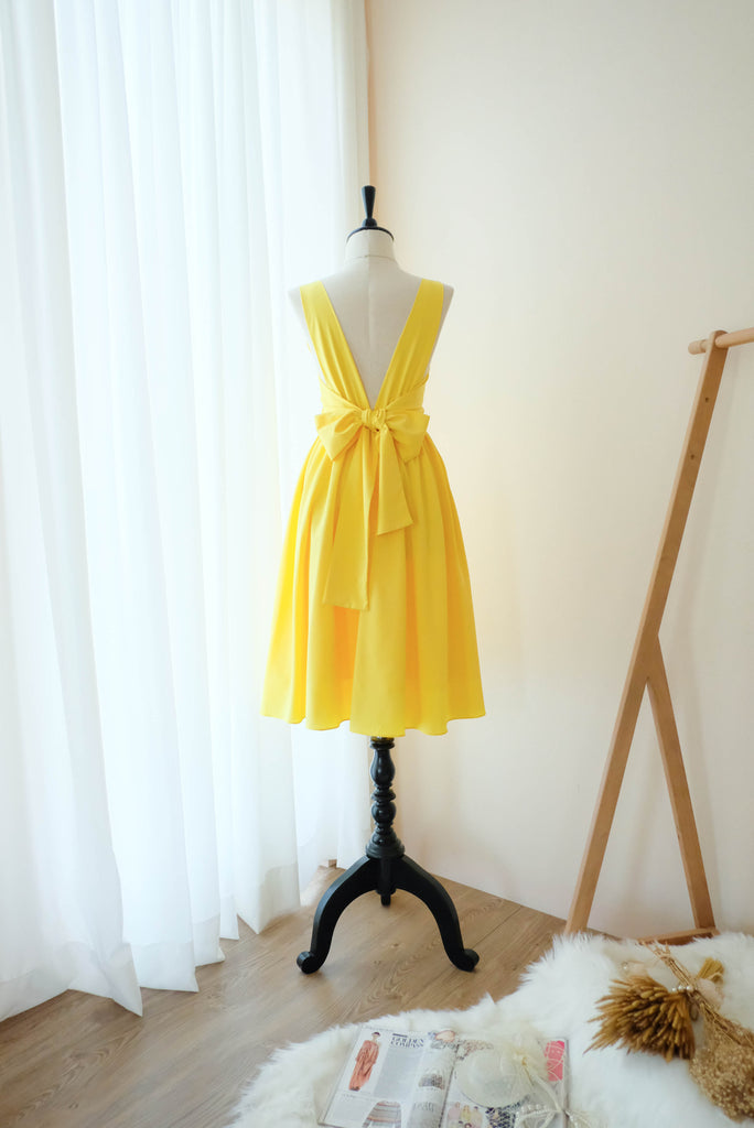 Lemon yellow bridesmaid square neck Mid length party cocktail backless bridesmaid dresses - KEERATIKA VALENTINA