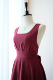 Red burgundy dress Backless prom party bridesmaid wedding dress Bow back