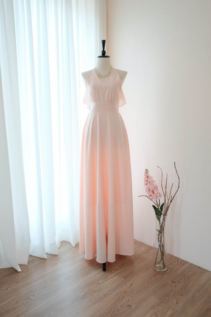 Pink blush floral dress blush Pink Bridesmaid dress Long Backless halter dress Maxi Cocktail dress Party dress floor length Summer Beach dress