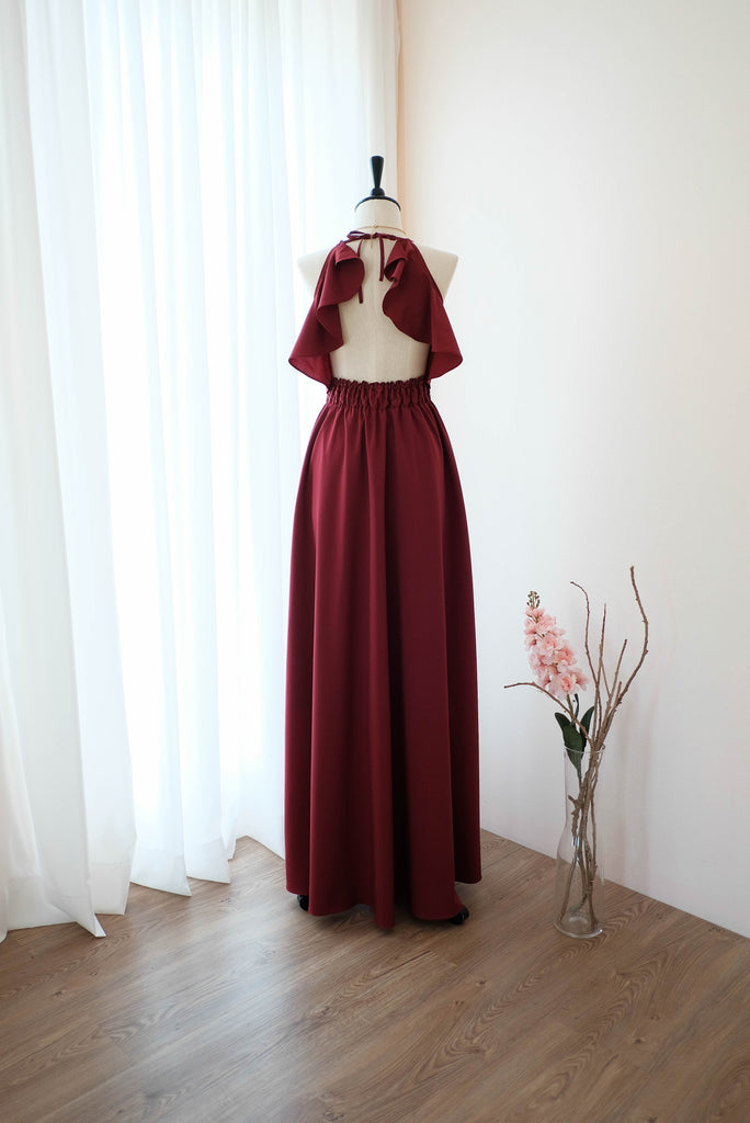 Burgundy Red dress Red bridesmaid dress Long Wedding Dress Burgundy cocktail Party dress Backless Halter Dress Boho Dark Red Evening gown