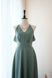 Earthy Dark Jade Green dress Dusty Green bridesmaid dress Long Wedding Dress Green cocktail Party dress Backless Halter Dress Evening gown