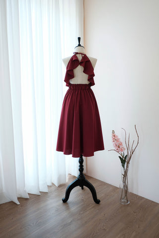Burgundy dress Dark Red Bridesmaid dress Burgundy Mid Length Cocktail Dress Party Prom Wedding dress Halter Backless dress Homecoming dress