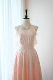 Pink blush dress Blush pink Bridesmaid dress Mid Length Cocktail Dress Pink Party Prom Wedding dress Halter Backless dress Homecoming dress