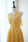 Yellow dress Floral Yellow Bridesmaid dress Mid Length Cocktail Dress Yellow Party Prom Wedding dress Halter Backless Homecoming dress