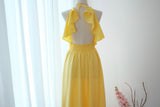 Lemon Yellow dress Yellow bridesmaid dress Long Wedding Dress Yellow cocktail Party dress Yellow Backless Halter Dress Yellow Evening gown