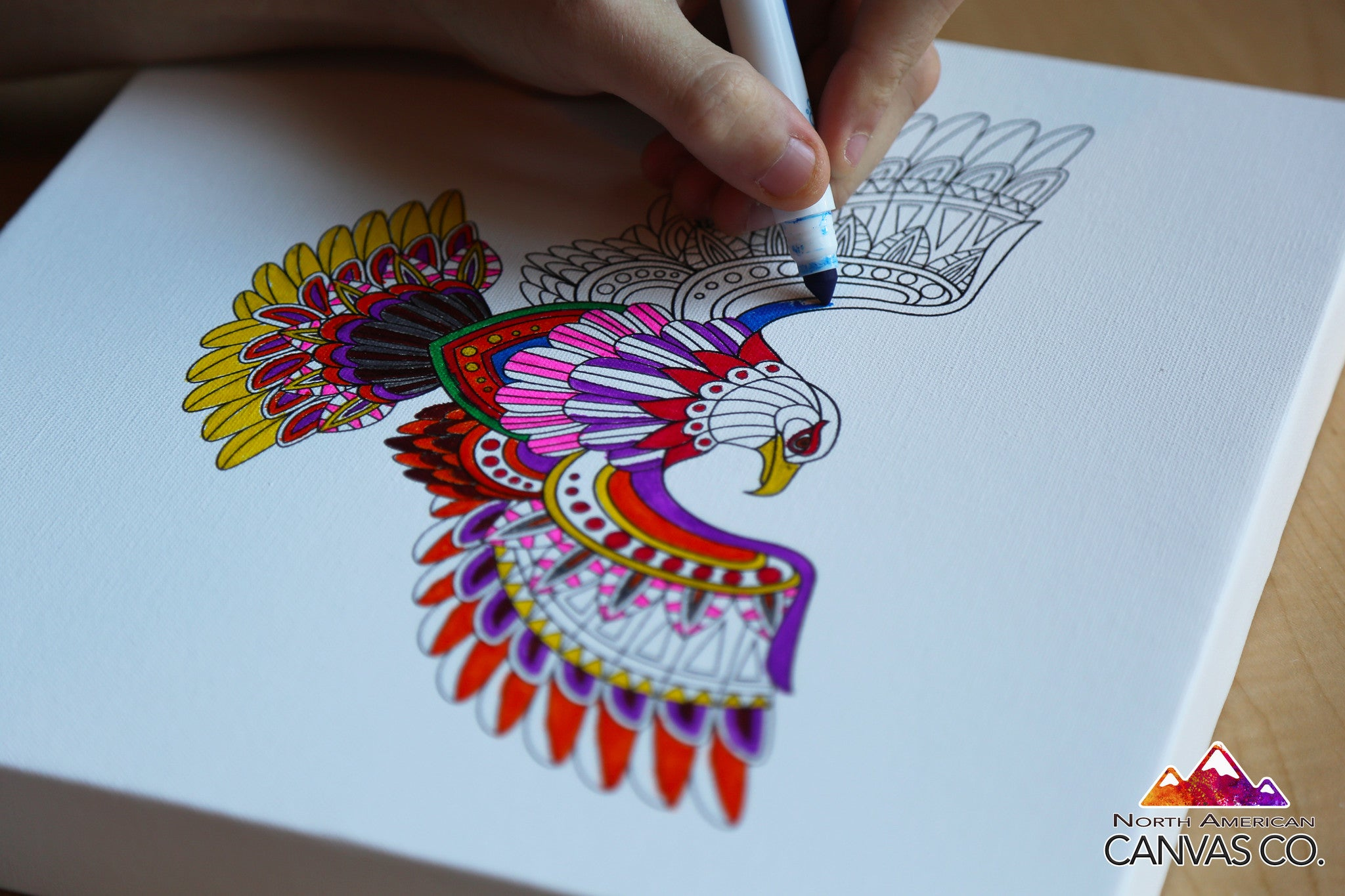 little birds coloring canvas