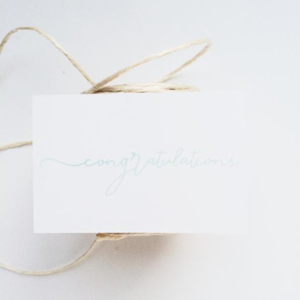 'congratulations' gift giving card
