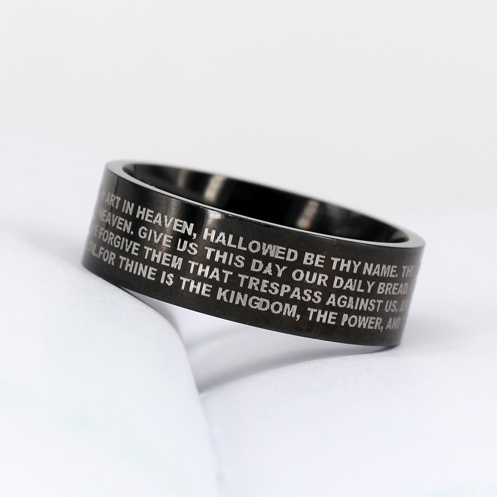 """The Lord's Prayer"" Vintage Stainless Steel Ring"