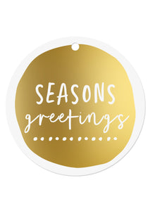 Gold Foil Seasons Greetings Gift Tags